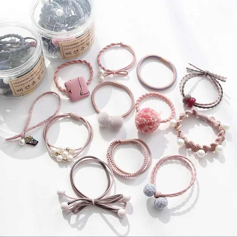 12Pcs/Bottle Fashion Hair Ropes Ribbon Bowknot Elastic Hair Band Cute Rubber Band Hair Ties Flower Women Girls Hair Accessories