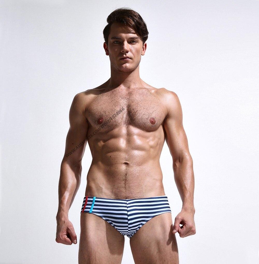 Новая летняя мужская одежда для плавания, спортивные мужские плавки, плавки с низкой посадкой, мужской купальник в полоску, мужской купальн... 17