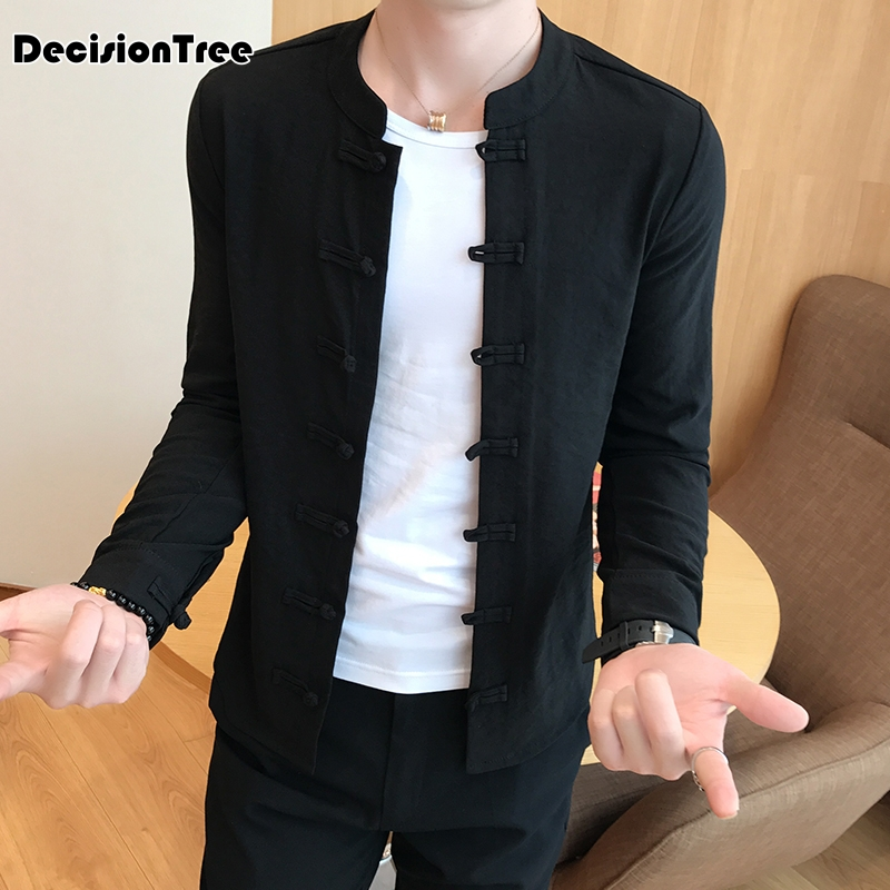 2019 Long Sleeve Two Sided Traditional Chinese Clothes Tang Suit Top Men Vintage Solid Hanfu Coat For Men Casual Tang Shirt