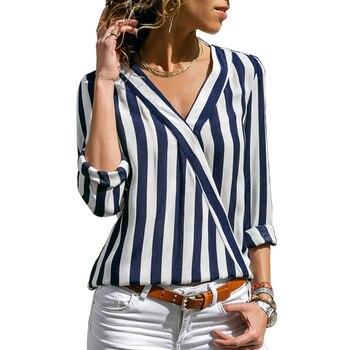 6021845f13 Femenina blusa camisa a rayas de moda mujer blusas 2019 de manga larga para  mujer Tops y blusas señoras Tops camisa de mujer