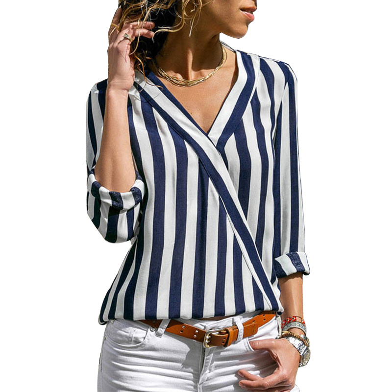 Feminina   Blouse     Shirt   Striped Chiffon Fashion Woman   Blouses   2019 Long Sleeve Womens Tops and   Blouses   Ladies Tops chemise femme