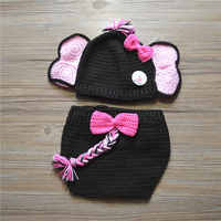 Novelty Elephant Costume Handmade Knit Crochet Baby Girl Animal Hat With Pink Bow Diaper Cover With