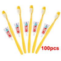 100/50 juegos de cepillo de dientes desechable portátil de Hotel con Kit de pasta de dientes suministros práctico de plástico de Camping de viaje de lavado de Garga herramienta