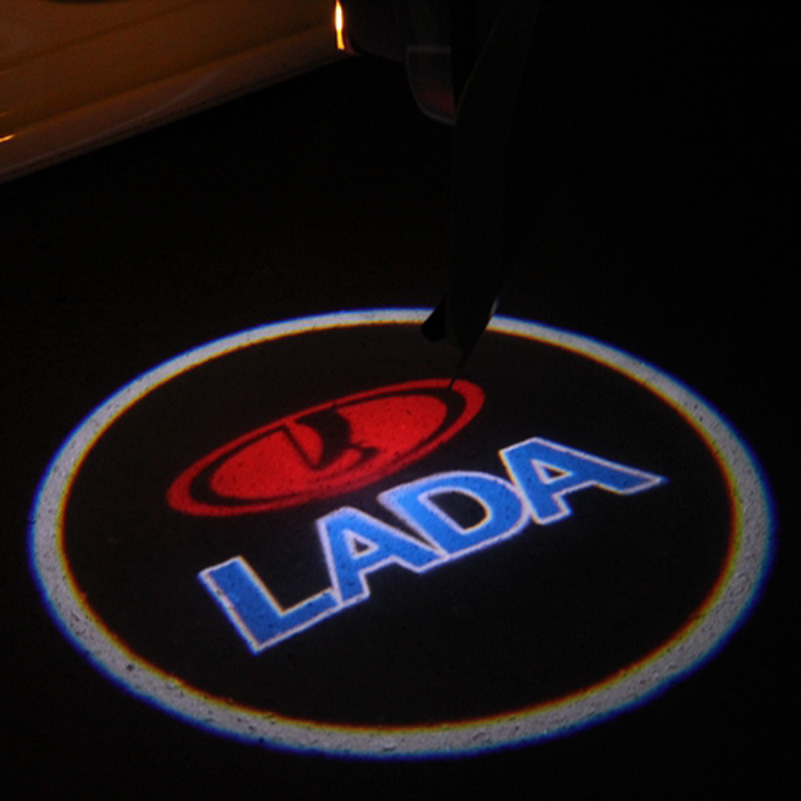 2X car laser projector Logo Ghost Shadow font b Light b font universal fit For Lada