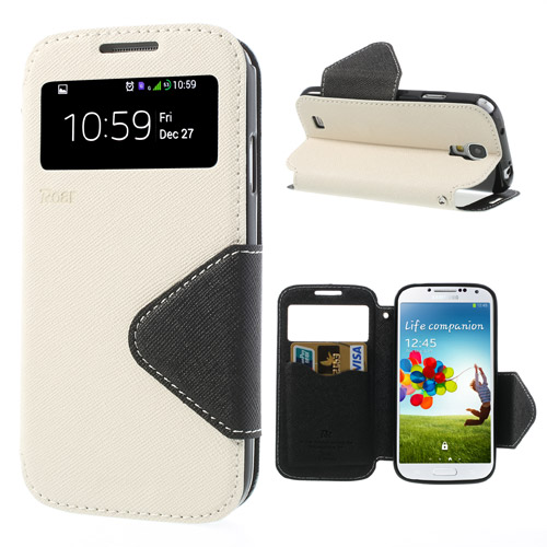 For Galaxy S4 i9500 Leather Case Roar Korea Fancy Diary View Window Leather Case for Samsung