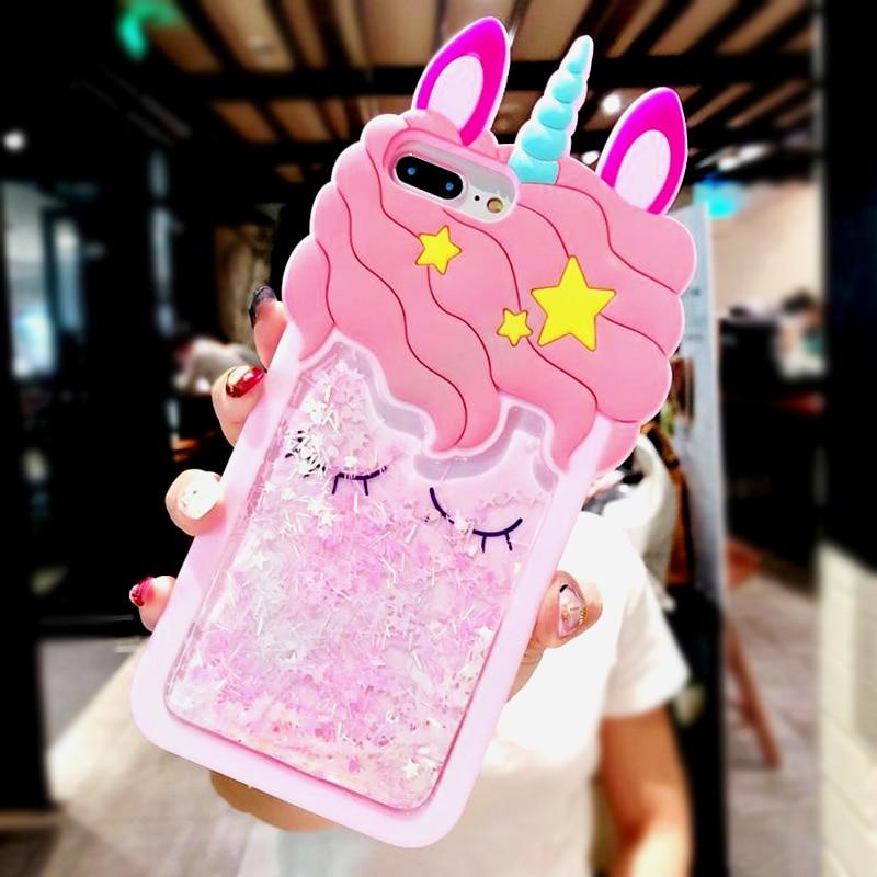 3D Cartoon Pink Quicksand Unicorn Soft Silicone Liquid Stars Case for Iphone 7 Plus 8 6 6S plus 5 S 5S SE XS Max XR X Phone Case (1)