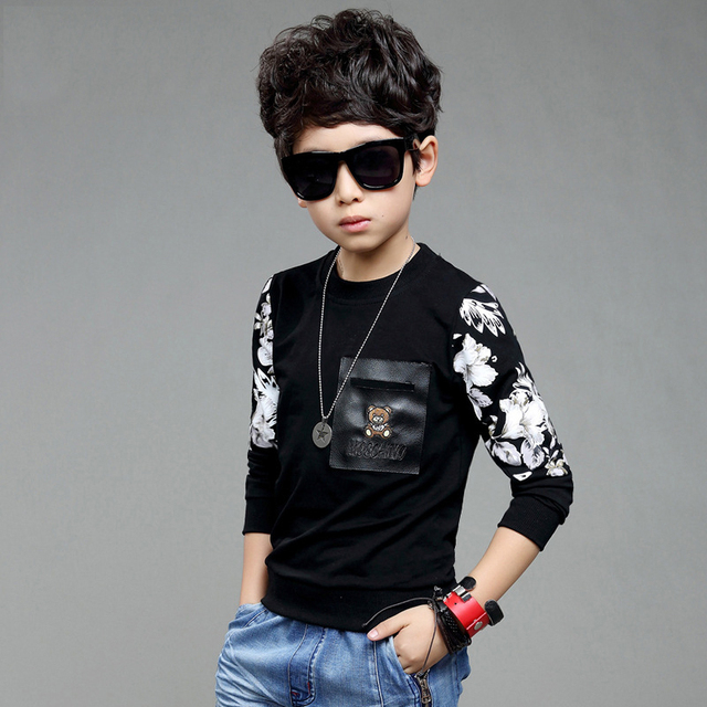 2017 Fashion Brand Boys Long Sleeve Shirts Spring Cotton Soft Toddler Sweater Shirts High Quality Children Sport Clothes 8-14Y