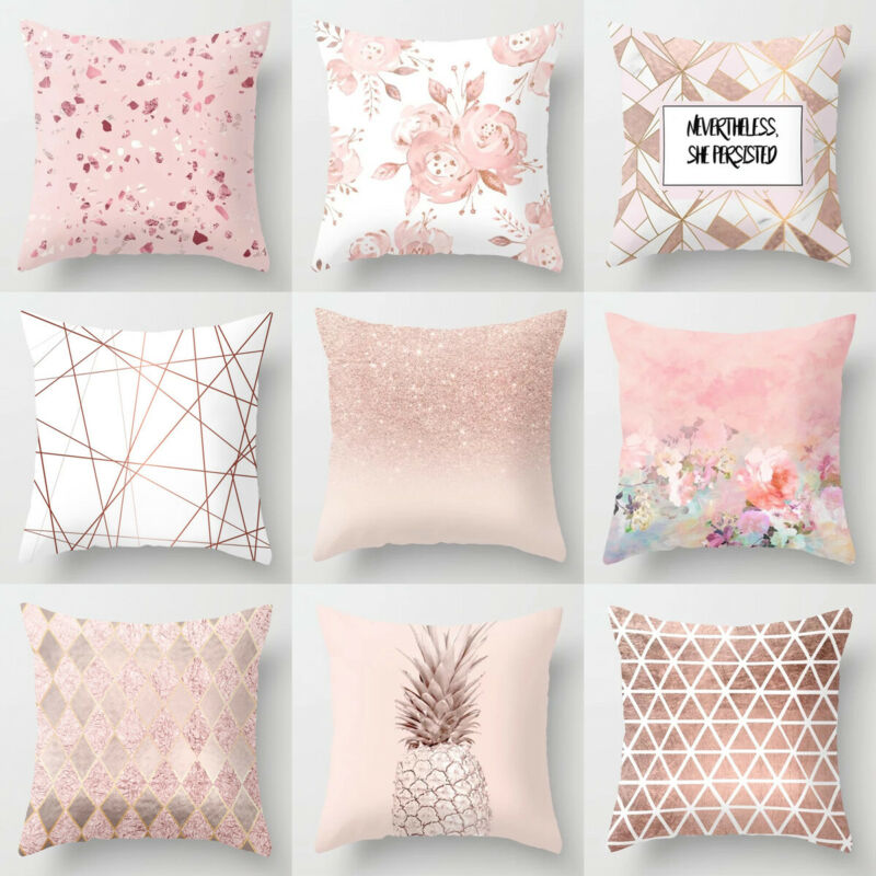 2019 New Nordic Style  Decorative Geometric Cushions Covers Petal Pink Pillow Girly Style Pillowcase