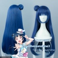Free Shipping LoveLive!Sunshine!! Love Live Yoshiko Tsushima Cos Wig Hair Blue Gray Anime Cosplay Wig Party Wigs