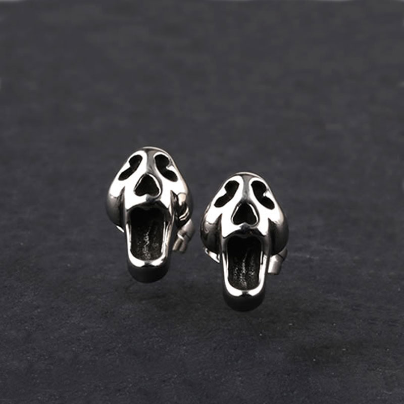 2017 new arrived High Quality Fashion Punk Jewelry Stainless Steel Skull Stud Earrings for Men Boys Halloween Gift