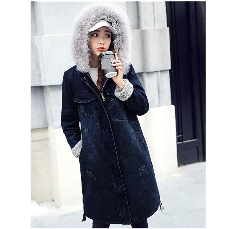Blue Capuchon 2018 Bomber Laine Cow Chaud Denim Longue D'agneau Vestes Jeans Hiver Manteau La Navy Plus Épaississement De boy Dames En Velours Base Femmes À Taille xYA4Yrw