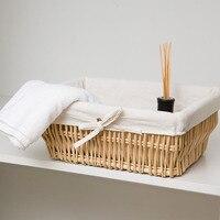 Practical Handmade Knit Wicker Storage Box Willow Basket Woven Rattan Fruit Organizer