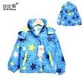 2016 ветровка для девочек с длинным рукавом сгущает Пальто Хлопка star Детские детская куртка Hoodied Куртка Дети Верхняя Одежда