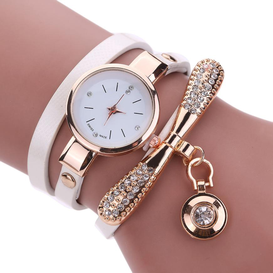 2017 Hot Sale Women Watch PU Leather Band Wrist Watches Rhinestone Female Lady Analog Quartz relogio feminino JUL 22 watch men leather band analog alloy quartz wrist watch relogio masculino hot sale dropshipping free shipping nf40