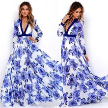 New Women Summer Floral Printed Maxi Dress Casual Vintage Long Sleeve Pleated Long Dress Beach Party Vestidos Sundress