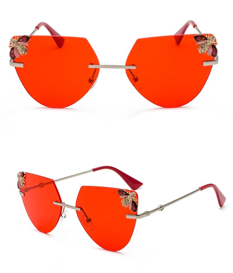 Rhinestone Cat Eye Sunglasses Ladies Triangle detail (10)
