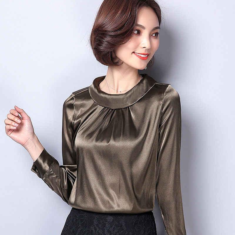 d66e044c7fc ... Для женщин атласа шелковистой рубашка Винтаж плиссе с длинным рукавом  блестящая блузка пуловер Топ с длинным ...