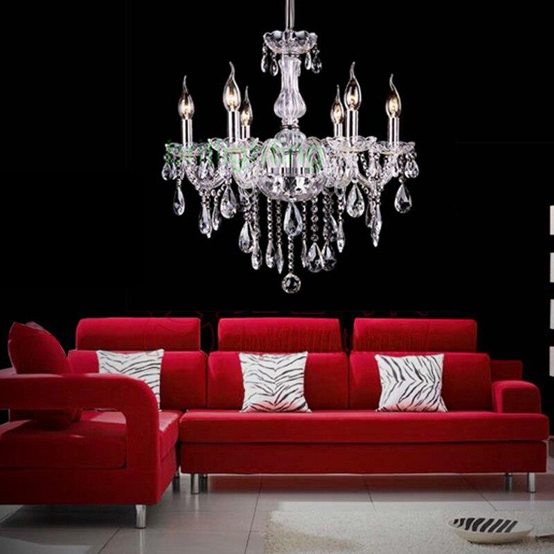 € 123.74 15% de réduction Lustre de salle à manger contemporain lustre en  cristal moderne éclairage 6 lumière mini lustre 3 w led lumières livraison  ...