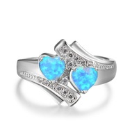 Romantic Moonstone Blue Heart Fire Opal Ring Jewelry For Women Silver Color Zircon Wedding Engagement Rings Bague Argent Femme 5