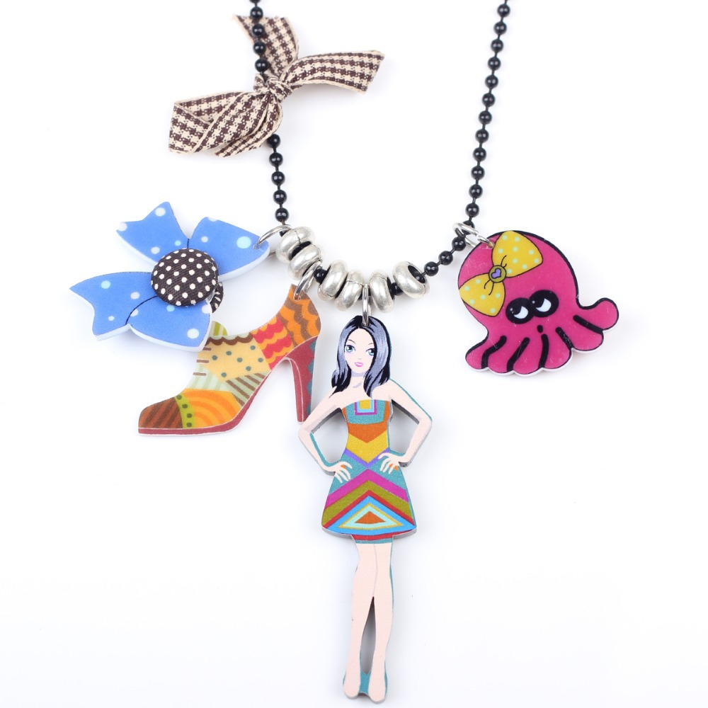 Bonsny girl doll brand necklace pendant acrylic 2015 news ...