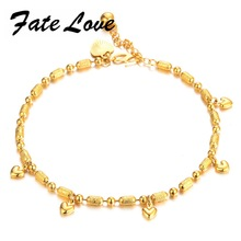 Fate Love Classic Charm New Design Gold Color Women Girl Hearts Bead Chain 22mm Length Anklet Foot Woman Statement Jewelry FL725