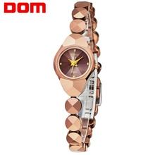DOM женские роскошные брендовые водонепроницаемые Стиль Кварцевые часы стали вольфрама золото Медсестра часы браслет Женщины