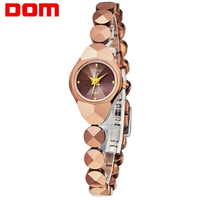 Nuevo Dom mujeres de la marca de lujo impermeable estilo enfermera reloj de oro de acero de tungsteno reloj de cuarzo pulsera de las mujeres