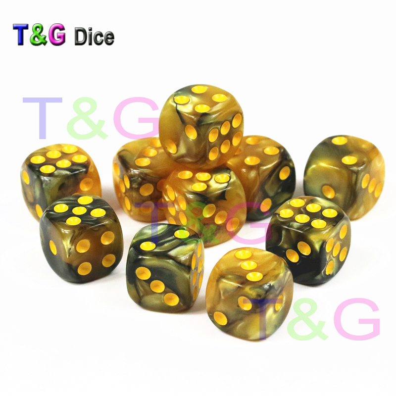 10pcs/set Of 12mm D6 Gambling Dice With Gold Standard Dot Game Accessories For Gambling,Tabletop