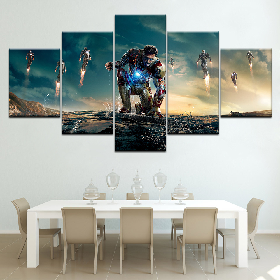 Frame Printed cartoon Movie Iron man 5 piece picture painting wall art childrens room decor Modular canvas poster Free shipping
