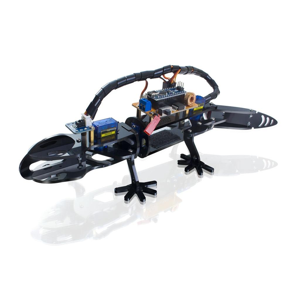 SunFounder Bionic Robot Lizard Visual Programming Educational Robot Kit for Kids Remote Control DIY Toy sunfounder sf rollbot stem learning educational diy robot kit gui mixly for arduino beginner bluetooth module infrared sensor