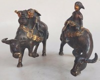 Collection Gold plated Red copper A pair of cows/OX statue Metal Crafts Children put cattle/bull Brass sculpture home decoration