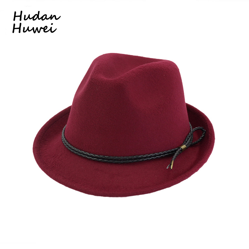 d01820eb7 US $8.83 5% OFF|British Retro Roll Narrow Brim Wool Felt Fedora Hats for  Men Women Trend European US Jazz Trilby Hat with Rope Decoration GH 312-in  ...