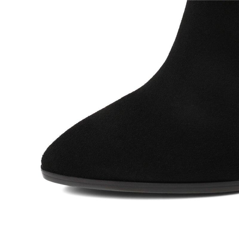 Chaussures De Femmes Talon Boucle Bottes Noir Suède Esrfiyfe Pointu D'hiver Courte Cuir En Carré Peluche Vache 2019 Véritable Bout Nouveau Zip A5R4jL