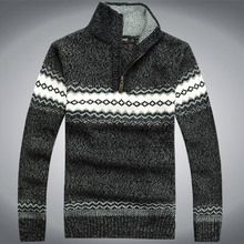 Wholesale-Free shipping Autumn and winter men's head explosion Half Zip Sweater Knit Sweater size M-3XL