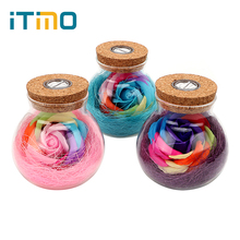 ITimo RGB Dimmer Lamp LED Romantic Bulb Rose Flower Bottle Light With Remote Control For Mom Lady Girls Night Light