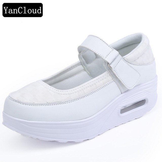158a5f5576f Spring Autumn Buckle PU White Nurse Shoes Platform Sneakers Women 2019  Comfortable Casual Shoes Ladies Wedges Footwear