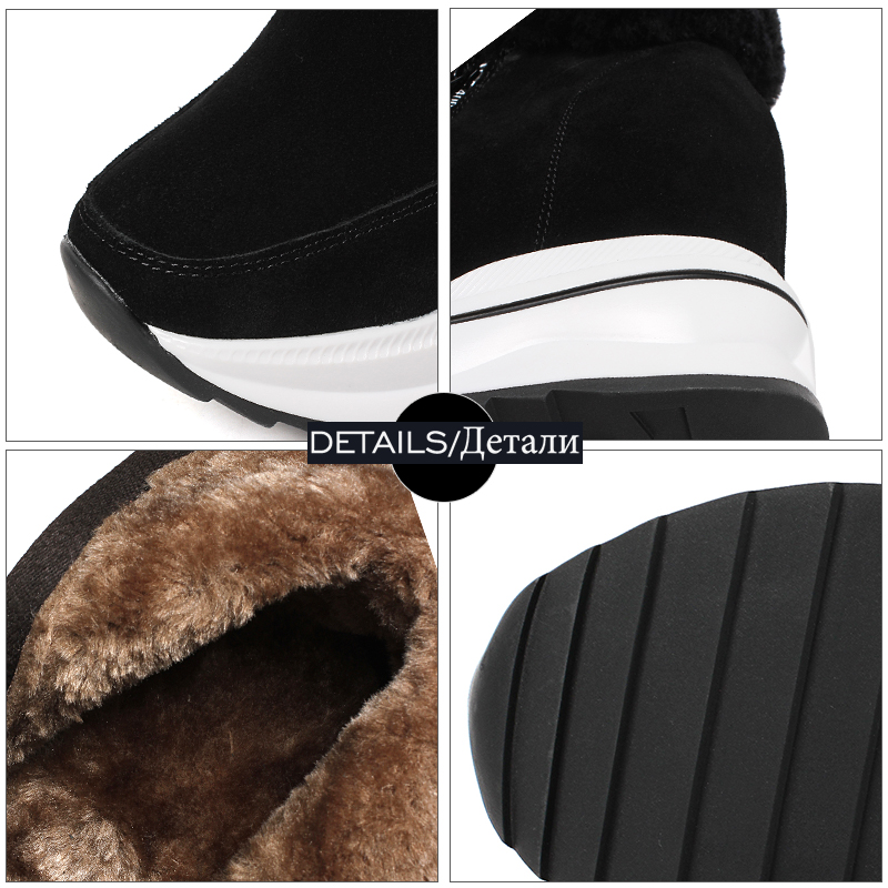 Wetkis Snow Fur 2018 Caviglia Women Suede peluche Insert tonda Boots Cow Plush Black Platform Casual Shoes Inverno verde donna Zip Punta Thick FxrxqfEgw