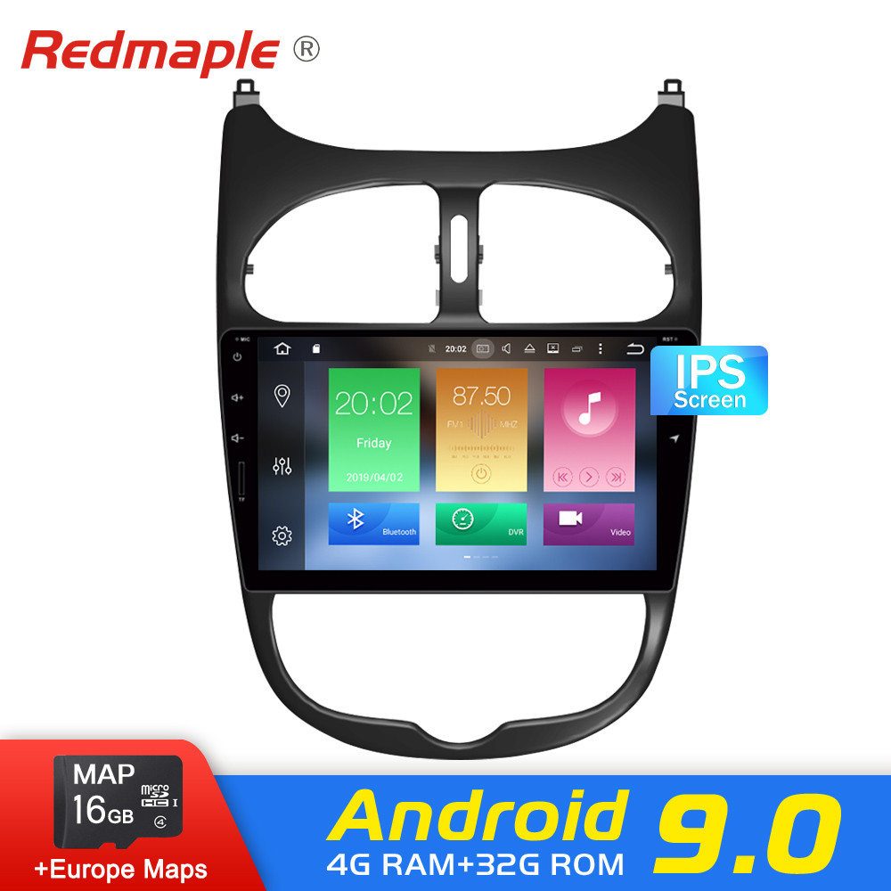 Octa Core 4G RAM Android 9.0 Car DVD player GPS Navigation Multimedia Stereo For <font><b>Peugeot</b></font> <font><b>206</b></font> 2000-2016 Auto Radio Audio Headunit image