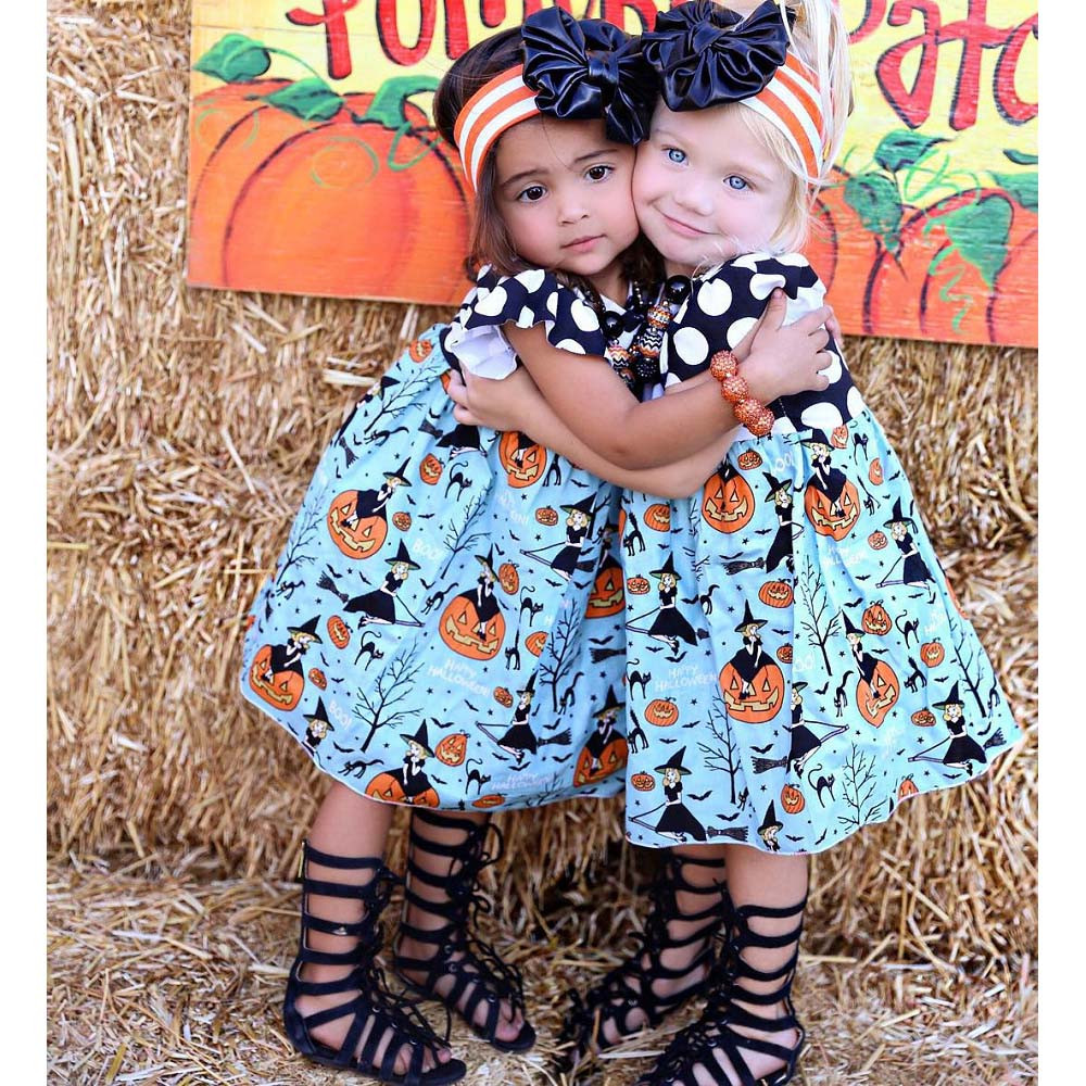 2-6T Baby Kid Girl Dress Halloween Pumpkin Cartoon Princess Outfits Sleeveless Toddler Children Clothes Casual Party BFOF