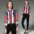 2017 la más nueva manera Mujeres blusa de primavera Más El Tamaño de lujo corta Camisetas casual de Las Señoras Oficina Blusas Floral Loose Women shirts