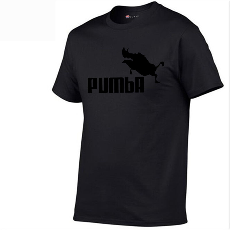 Funny T-Shirt Sweater Pumba Short-Sleeved Summer Cotton Casual Homum Solid-Color Men's