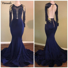 Navy Blue 2019 Prom Dresses Mermaid Long Sleeves Lace Beaded Backless Party Maxys Gown Evening Robe De Soiree