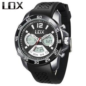 LOX Men Sports Analog Digital Watch Dual Display Multifunction Quartz Wristwatches Waterproof 30m Outdoor Fun Clock Montre Homme