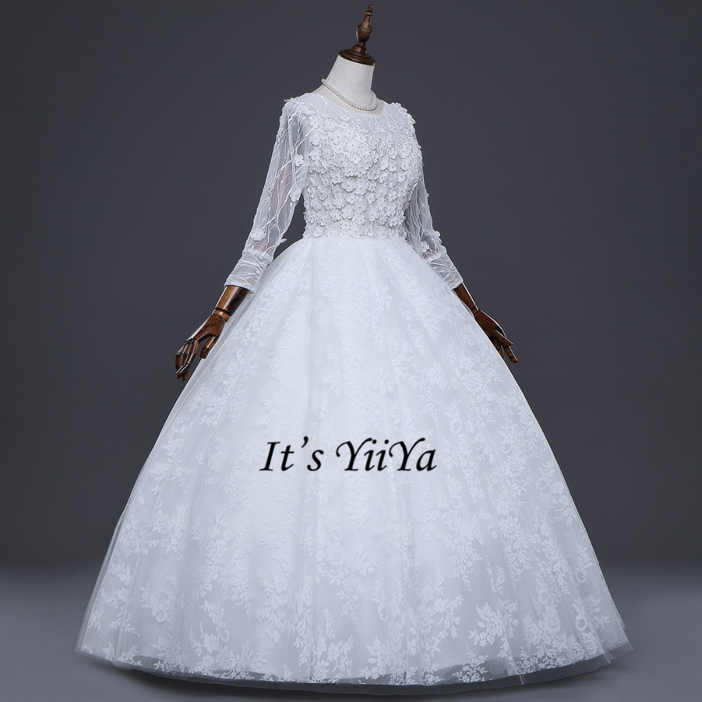 Free Shipping Wedding Dresses O Neck Vestidos De Novia Off White Dress Bridal Ball Gowns Long Sleeve Frocks Appliques IY031 In From Weddings