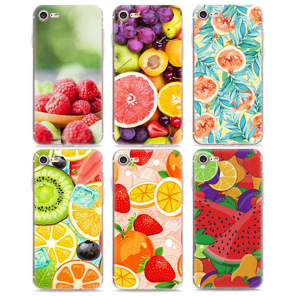 Soft Silicone Phone Case Lovely Colorful Summer Fruit Soft TPU Silicone Phone Case for Apple iPhone X 6 6s 7 8 Plus 7Plus 5s SE