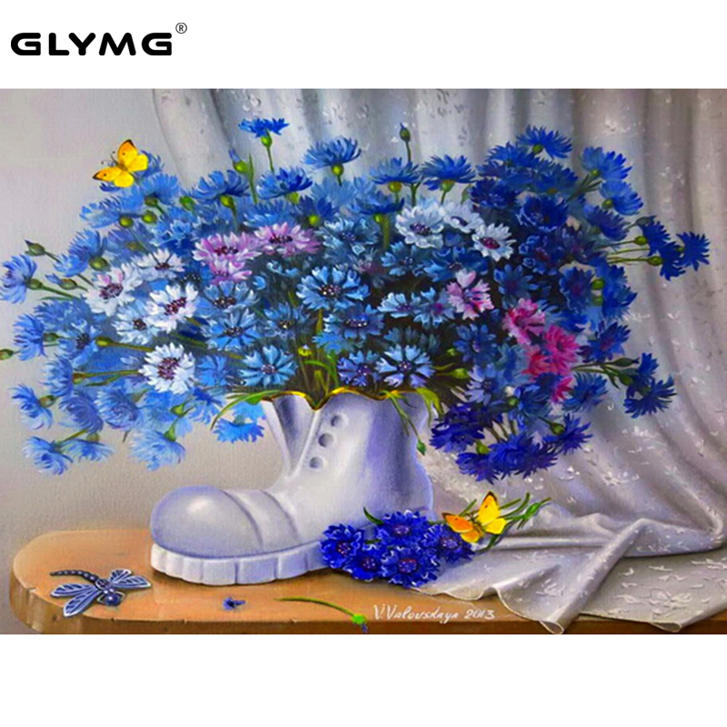 Glymg Needlework Diy Diamond Painting Cross Stitch Purple Floral Boots Pattern Diamond Embroidery Rhinestones Wall Sticker