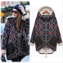 New Arrival S-XXL Warm Winter Women Trench Female Windbreaker Coat Long Hooded Collar Fleeced Inside Regular Fit Print Pattern