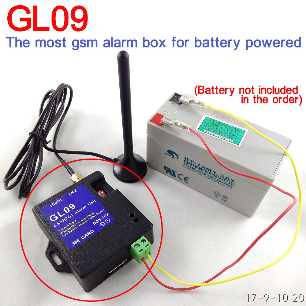 Battery operated 8 input GL09 GSM wireless Alarm Systems SMS Alarms Security System SMS or Emergency