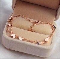 Groothandel vrouw titanium rose Goud kleur Enkelbanden met zeven Harten charmes, meisje voet Armband GRATIS VERZENDING