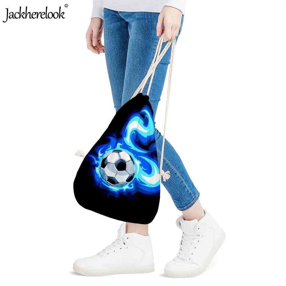 Jackherelook Burning Fire Foot Ball Soccer Print Boys Girls Drawstring Bags Casual Small Students Backpacks Storage